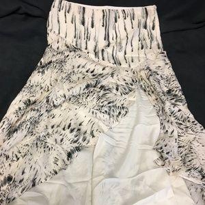 Haute Hippie Floral Feather Bouquet Long Skirt NWT